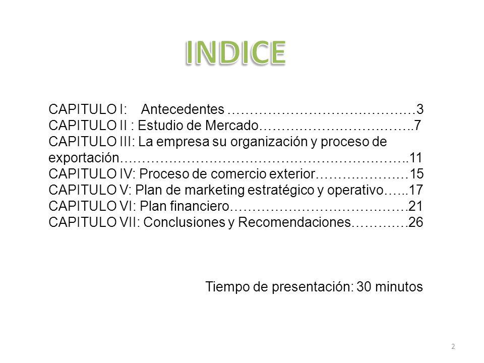 INDICE CAPITULO I: Antecedentes ……………………………………3