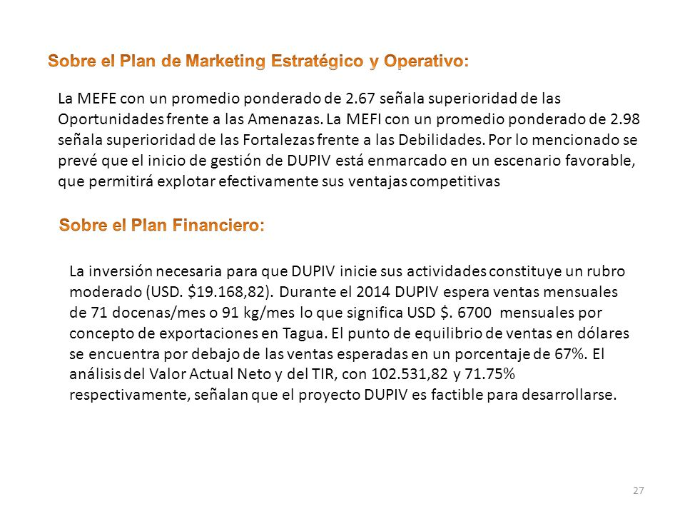 Sobre el Plan de Marketing Estratégico y Operativo: