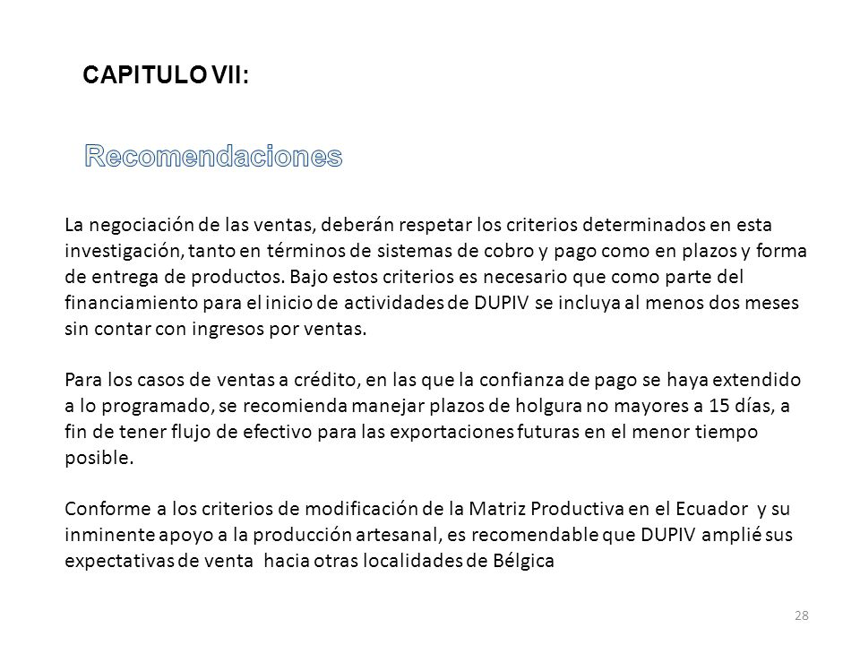 Recomendaciones CAPITULO VII: