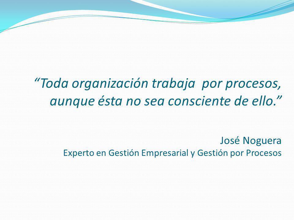 Toda organización trabaja por procesos, aunque ésta no sea consciente de ello. José Noguera Experto en Gestión Empresarial y Gestión por Procesos