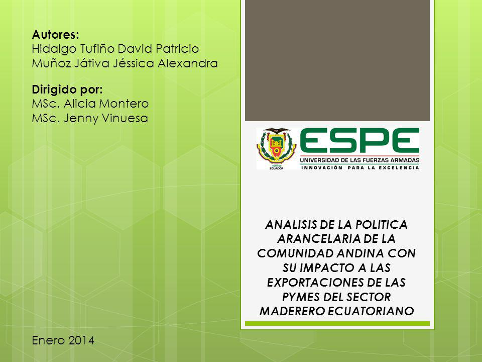 Autores: Hidalgo Tufiño David Patricio. Muñoz Játiva Jéssica Alexandra. Dirigido por: MSc. Alicia Montero.