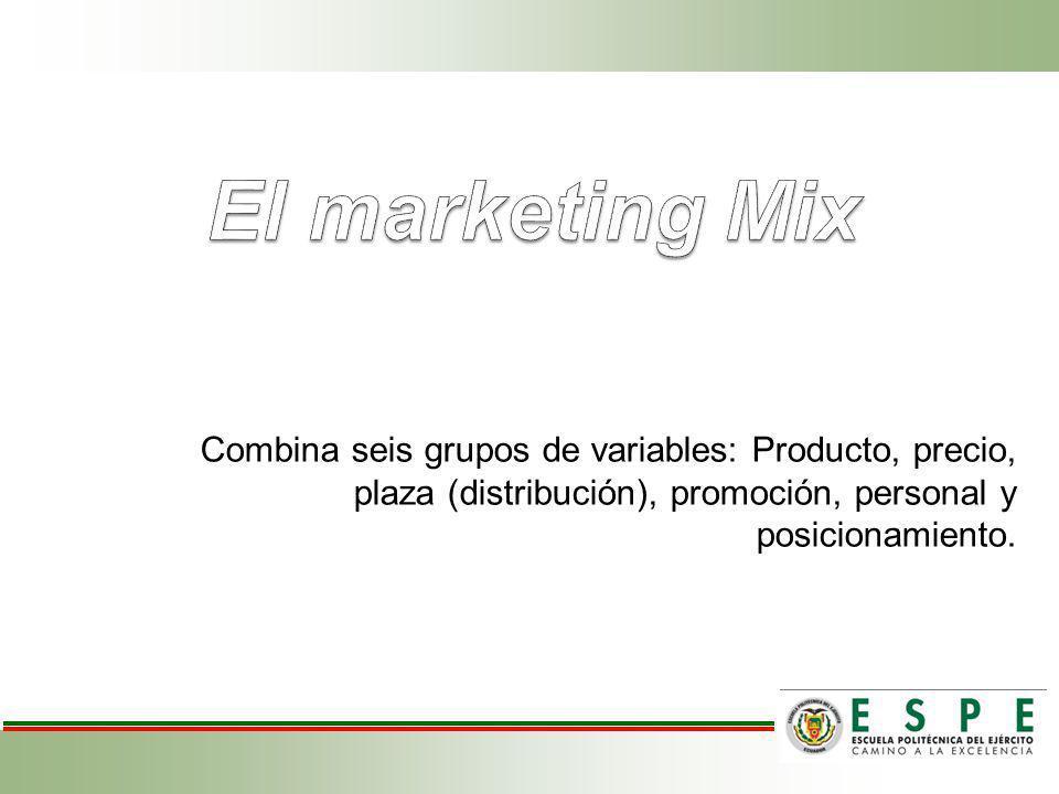 El marketing Mix Combina seis grupos de variables: Producto, precio, plaza (distribución), promoción, personal y posicionamiento.