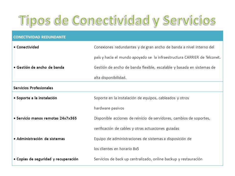 Tipos de Conectividad y Servicios