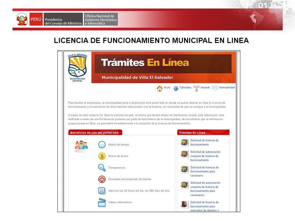 LICENCIA DE FUNCIONAMIENTO MUNICIPAL EN LINEA