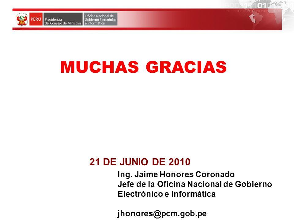 MUCHAS GRACIAS 21 DE JUNIO DE 2010 Ing. Jaime Honores Coronado