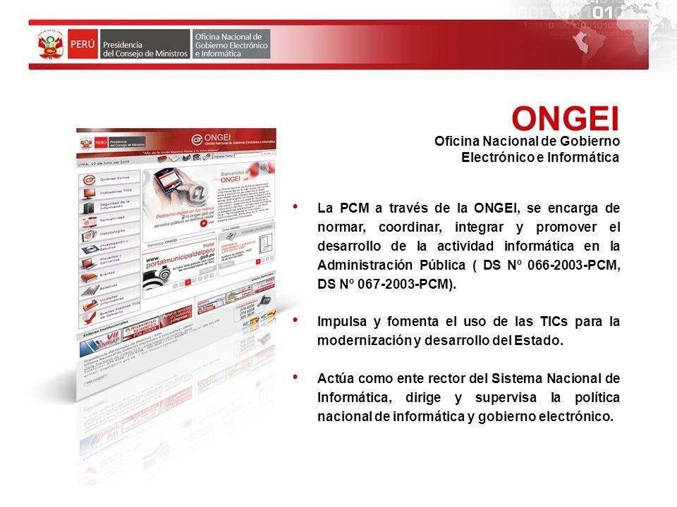 ONGEI Oficina Nacional de Gobierno Electrónico e Informática
