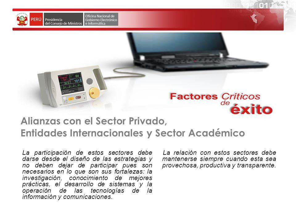 Alianzas con el Sector Privado, Entidades Internacionales y Sector Académico