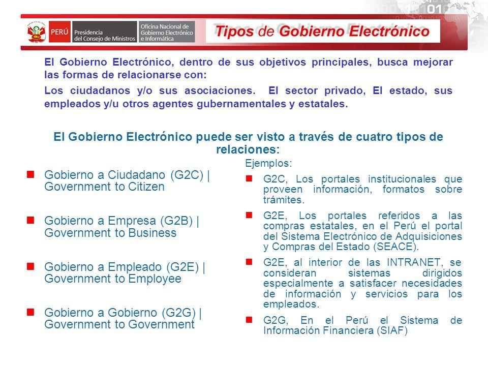 El Gobierno Electrónico, dentro de sus objetivos principales, busca mejorar las formas de relacionarse con: