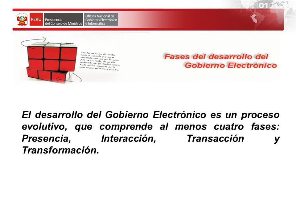 El desarrollo del Gobierno Electrónico es un proceso evolut