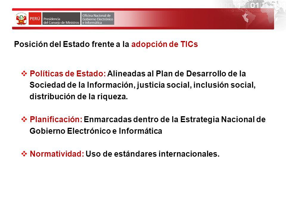 Posición del Estado frente a la adopción de TICs