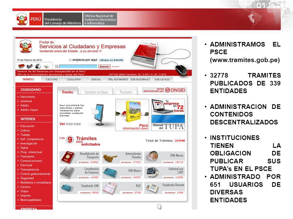 ADMINISTRAMOS EL PSCE (www.tramites.gob.pe)