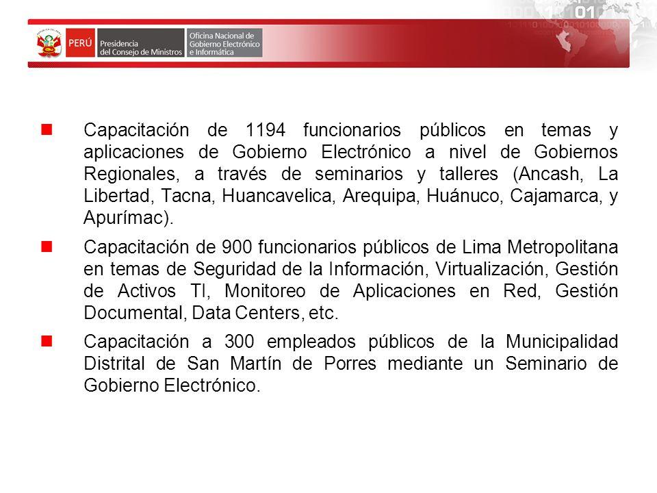 Capacitación de 1194 funcionarios públicos en temas y aplicaciones de Gobierno Electrónico a nivel de Gobiernos Regionales, a través de seminarios y talleres (Ancash, La Libertad, Tacna, Huancavelica, Arequipa, Huánuco, Cajamarca, y Apurímac).