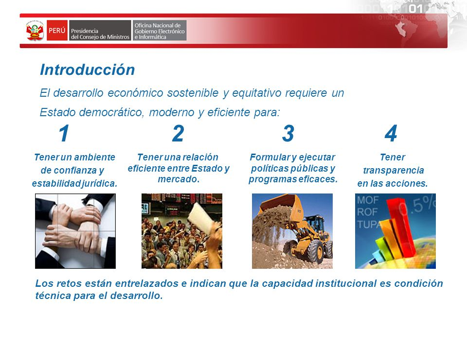 Introducción El desarrollo económico sostenible y equitativo requiere un. Estado democrático, moderno y eficiente para: