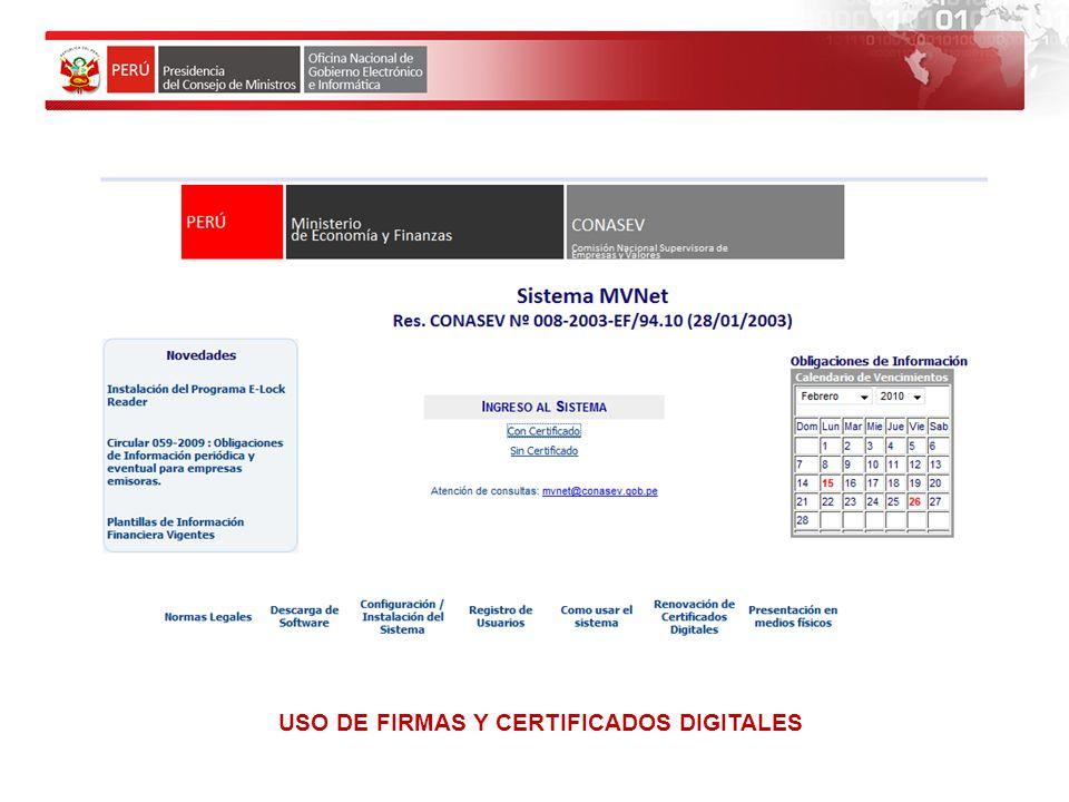 USO DE FIRMAS Y CERTIFICADOS DIGITALES