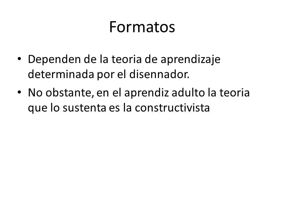 Formatos Dependen de la teoria de aprendizaje determinada por el disennador.