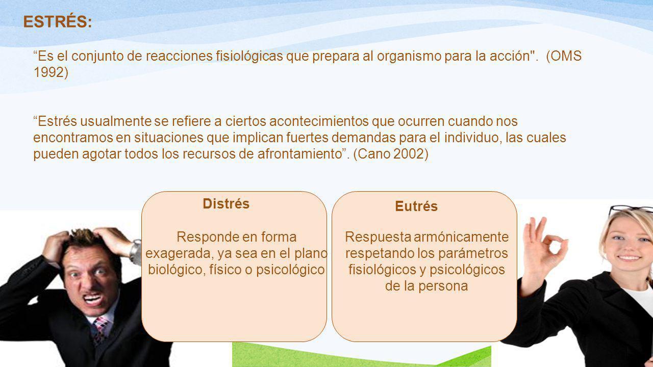 ESTRÉS: Es el conjunto de reacciones fisiológicas que prepara al organismo para la acción . (OMS 1992)