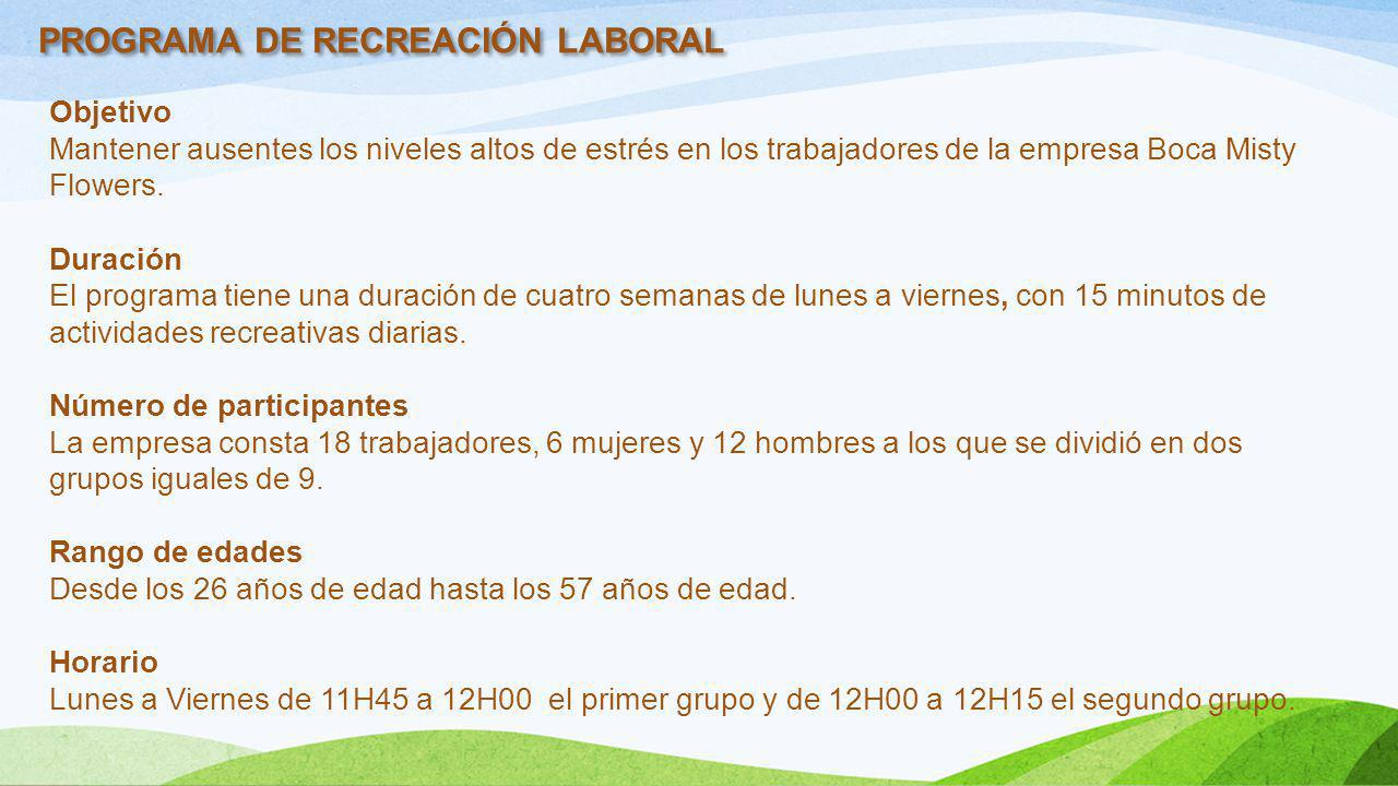 PROGRAMA DE RECREACIÓN LABORAL