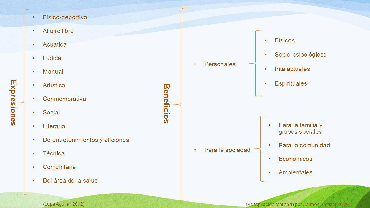 Expresiones Beneficios Físico-deportiva Al aire libre Acuática Lúdica