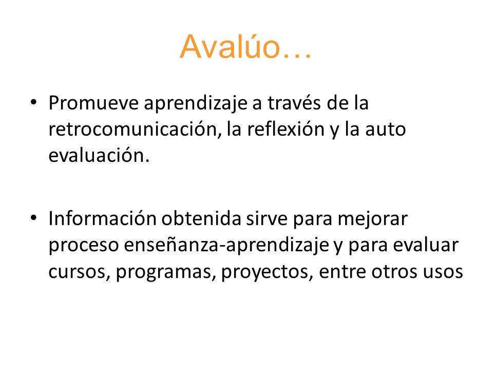 Avalúo…Promueve aprendizaje a través de la retrocomunicación, la reflexión y la auto evaluación.