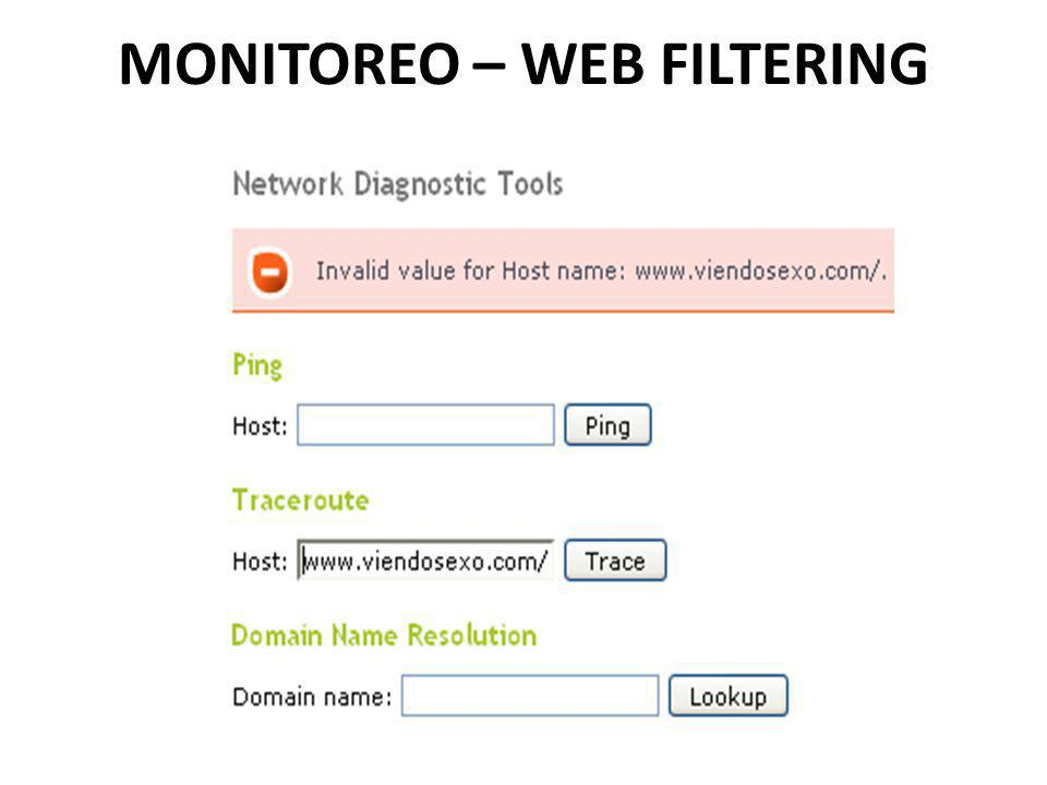 MONITOREO – WEB FILTERING