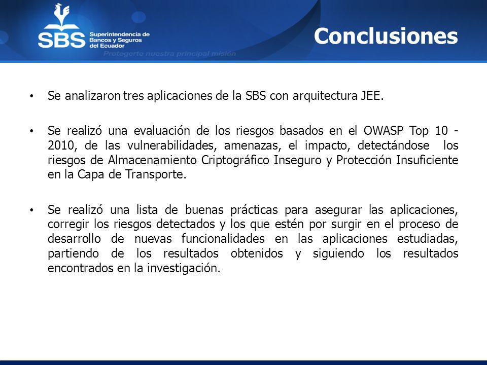 Conclusiones Se analizaron tres aplicaciones de la SBS con arquitectura JEE.