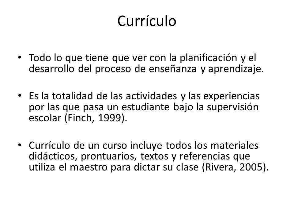 Currículo Todo lo que tiene que ver con la planificación y el desarrollo del proceso de enseñanza y aprendizaje.