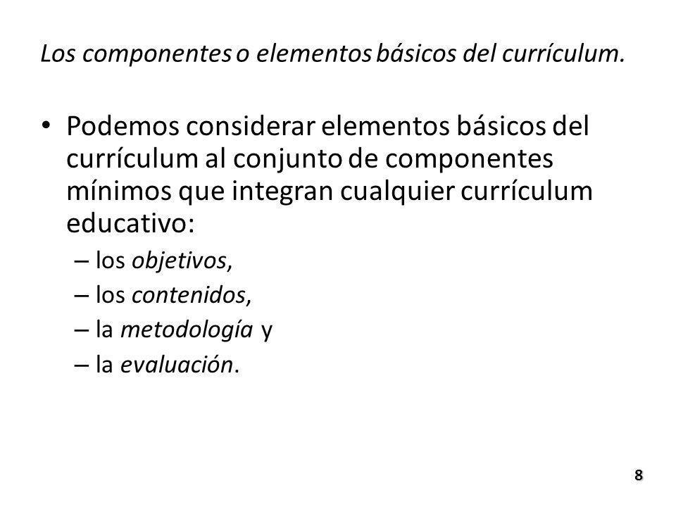 Los componentes o elementos básicos del currículum.