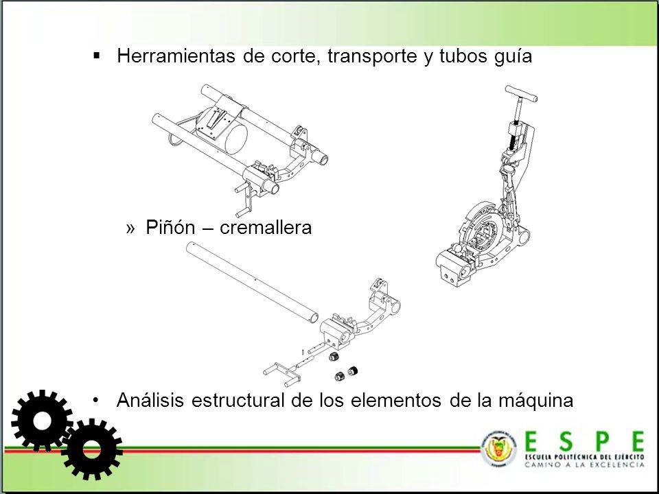 Herramientas de corte, transporte y tubos guía