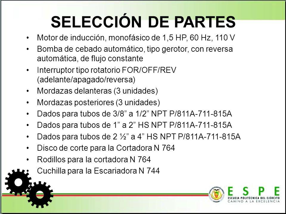 SELECCIÓN DE PARTES Motor de inducción, monofásico de 1,5 HP, 60 Hz, 110 V.