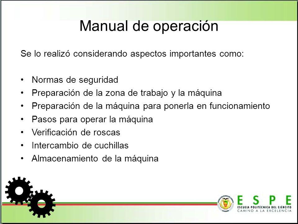 Manual de operación Se lo realizó considerando aspectos importantes como: Normas de seguridad. Preparación de la zona de trabajo y la máquina.