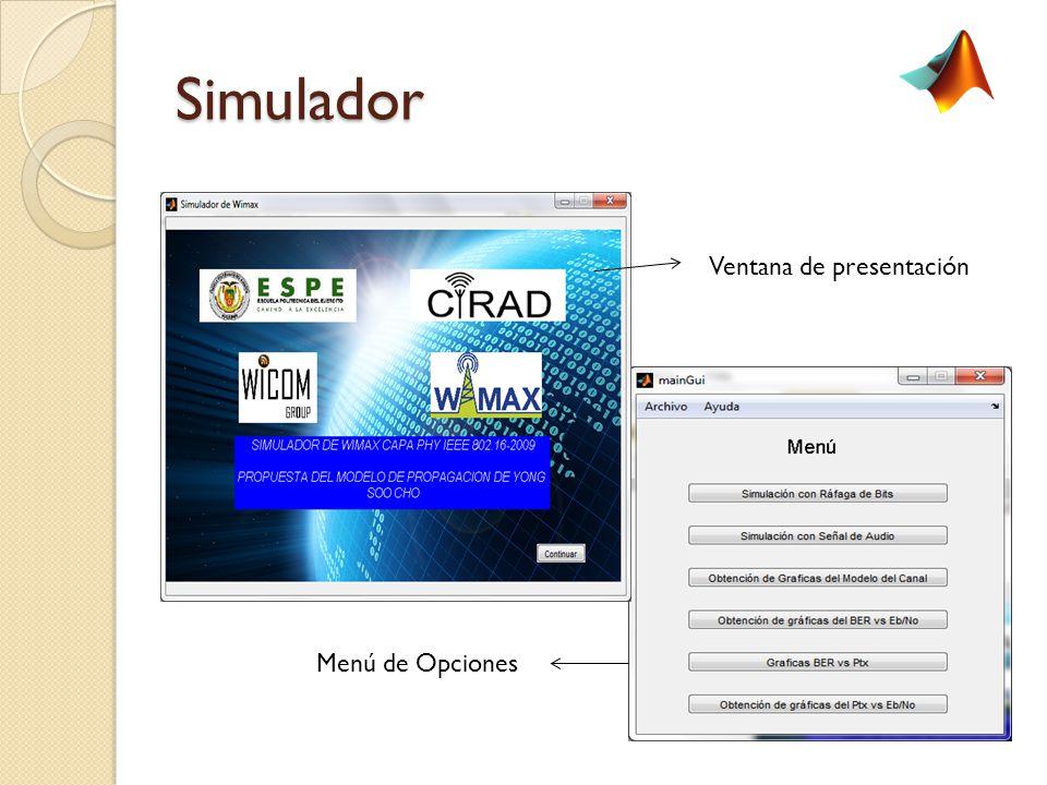 Simulador Ventana de presentación Menú de Opciones