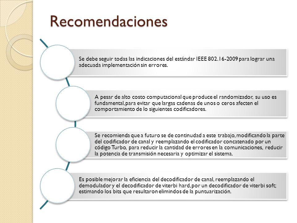 Recomendaciones Se debe seguir todas las indicaciones del estándar IEEE 802.16-2009 para lograr una adecuada implementación sin errores.