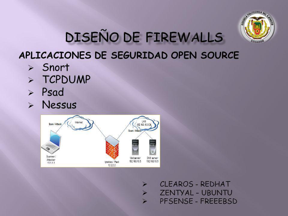 DISEÑO DE FIREWALLS Snort TCPDUMP Psad Nessus