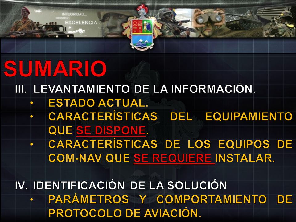 SUMARIO LEVANTAMIENTO DE LA INFORMACIÓN. ESTADO ACTUAL.