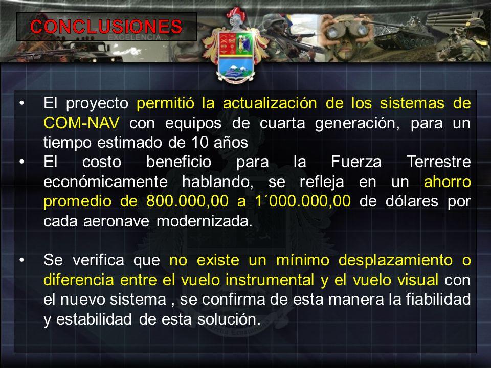 CONCLUSIONES El proyecto permitió la actualización de los sistemas de COM-NAV con equipos de cuarta generación, para un tiempo estimado de 10 años.