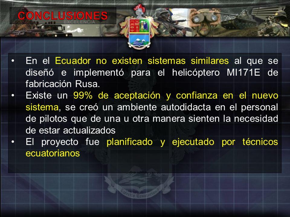 CONCLUSIONES En el Ecuador no existen sistemas similares al que se diseñó e implementó para el helicóptero MI171E de fabricación Rusa.