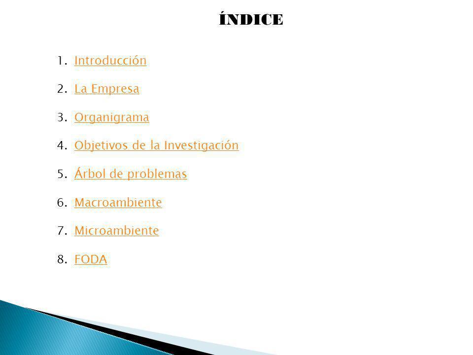 ÍNDICE Introducción La Empresa Organigrama