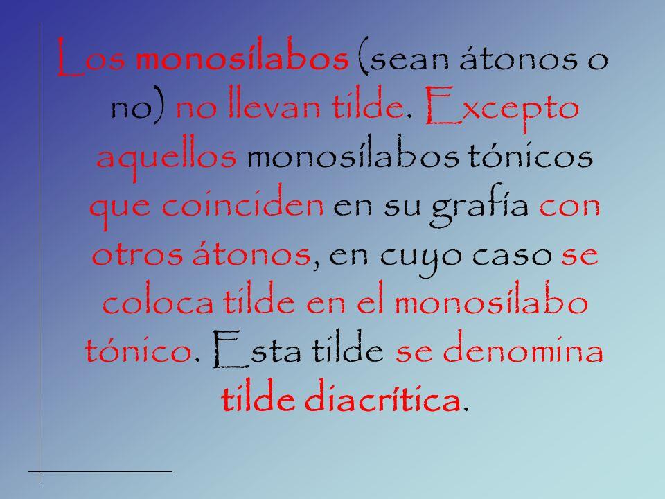 Los monosílabos (sean átonos o no) no llevan tilde