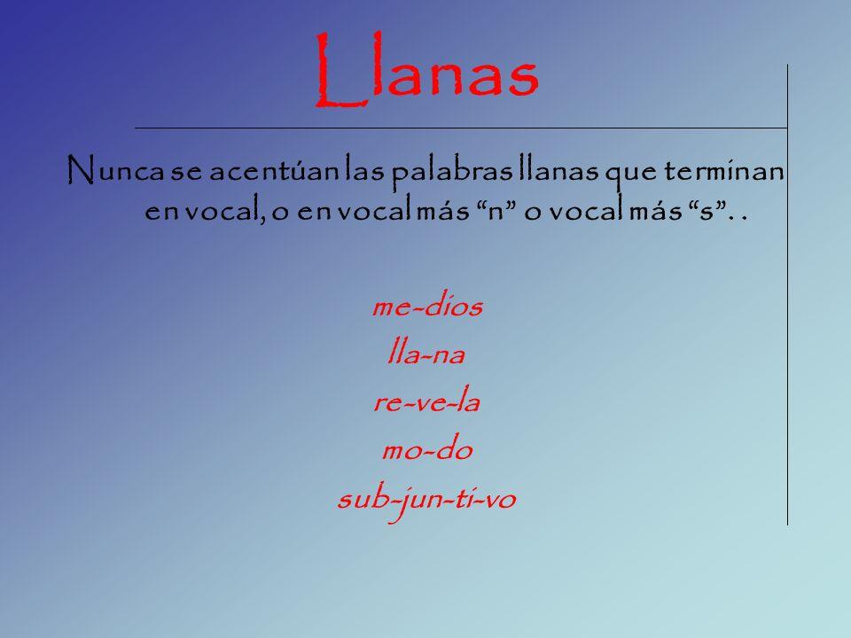Llanas Nunca se acentúan las palabras llanas que terminan en vocal, o en vocal más n o vocal más s . .