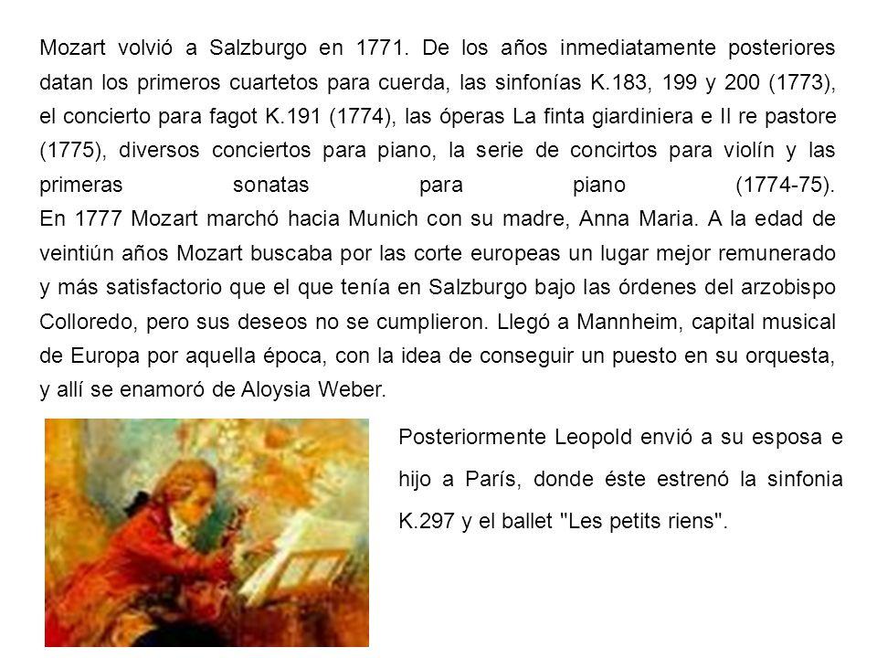 Mozart volvió a Salzburgo en 1771