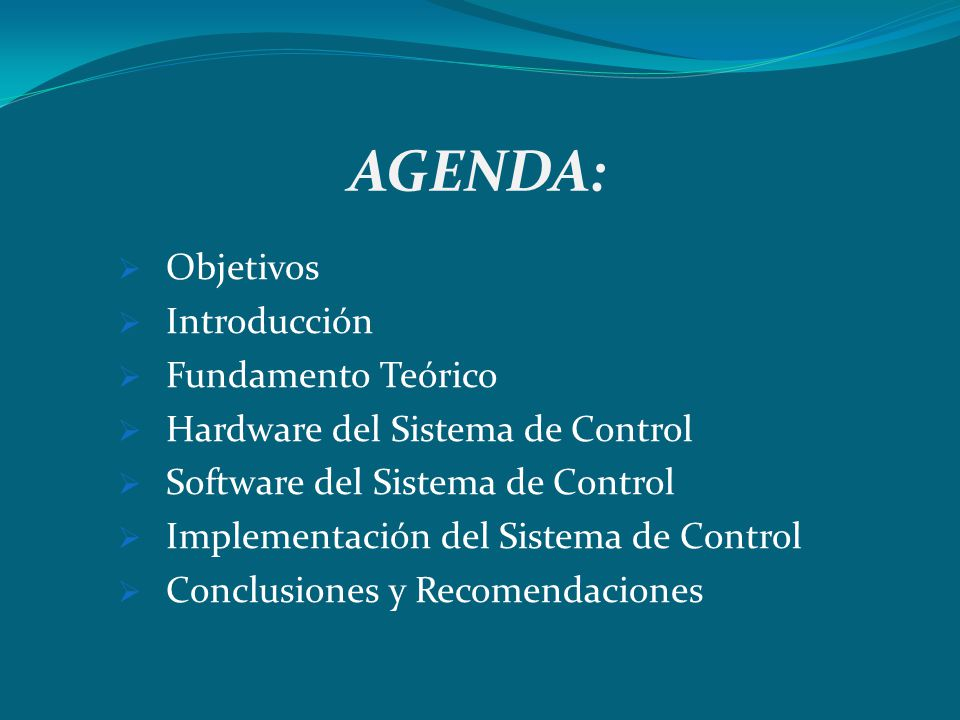 AGENDA: Objetivos Introducción Fundamento Teórico