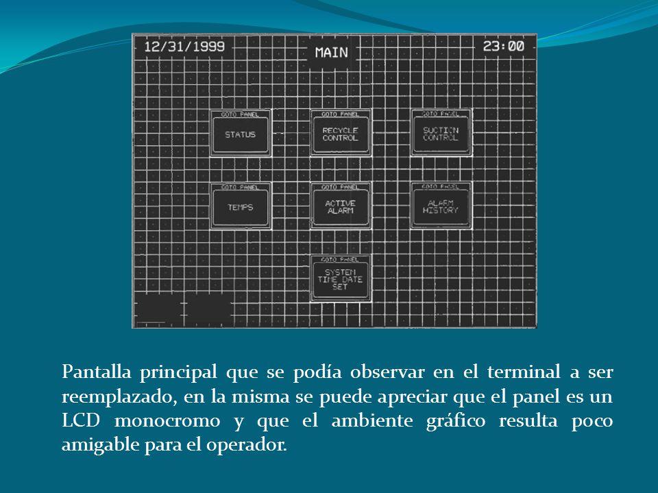 Pantalla principal que se podía observar en el terminal a ser reemplazado, en la misma se puede apreciar que el panel es un LCD monocromo y que el ambiente gráfico resulta poco amigable para el operador.