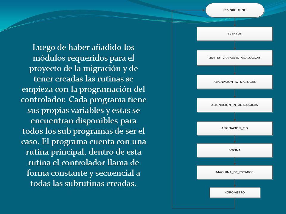 Luego de haber añadido los módulos requeridos para el proyecto de la migración y de tener creadas las rutinas se empieza con la programación del controlador.