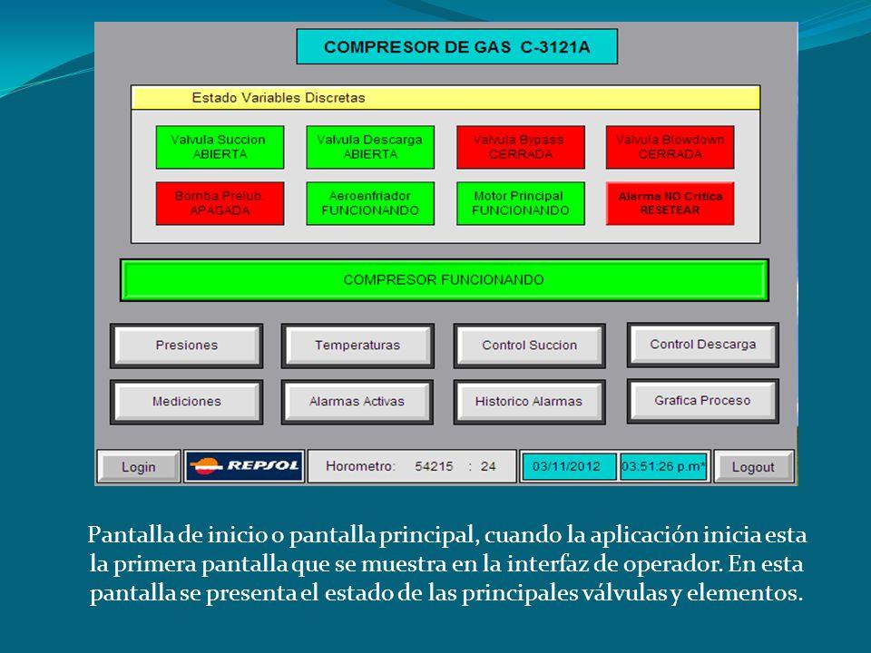 Pantalla de inicio o pantalla principal, cuando la aplicación inicia esta la primera pantalla que se muestra en la interfaz de operador.