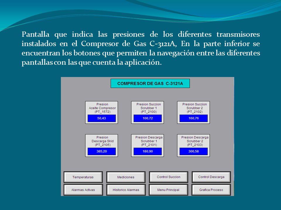 Pantalla que indica las presiones de los diferentes transmisores instalados en el Compresor de Gas C-3121A, En la parte inferior se encuentran los botones que permiten la navegación entre las diferentes pantallas con las que cuenta la aplicación.