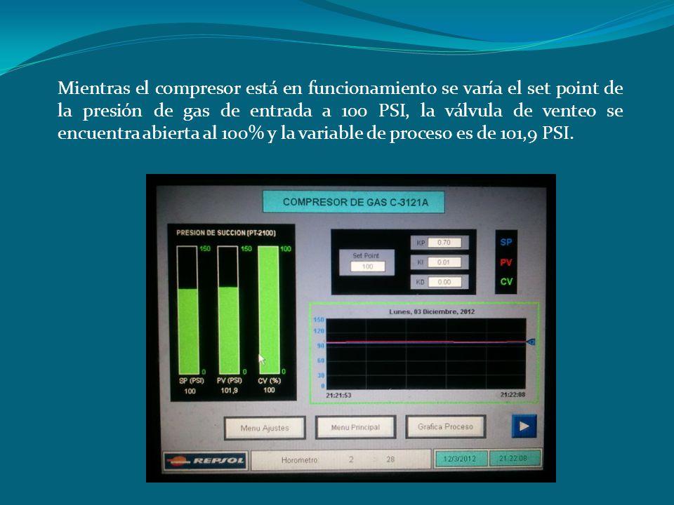 Mientras el compresor está en funcionamiento se varía el set point de la presión de gas de entrada a 100 PSI, la válvula de venteo se encuentra abierta al 100% y la variable de proceso es de 101,9 PSI.