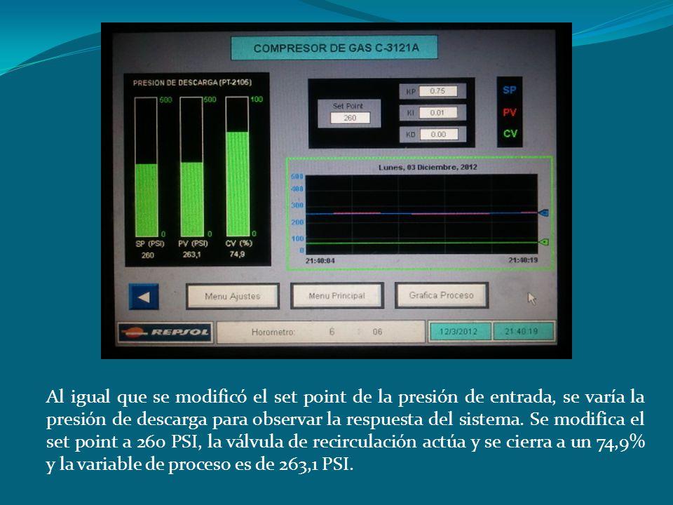 Al igual que se modificó el set point de la presión de entrada, se varía la presión de descarga para observar la respuesta del sistema.