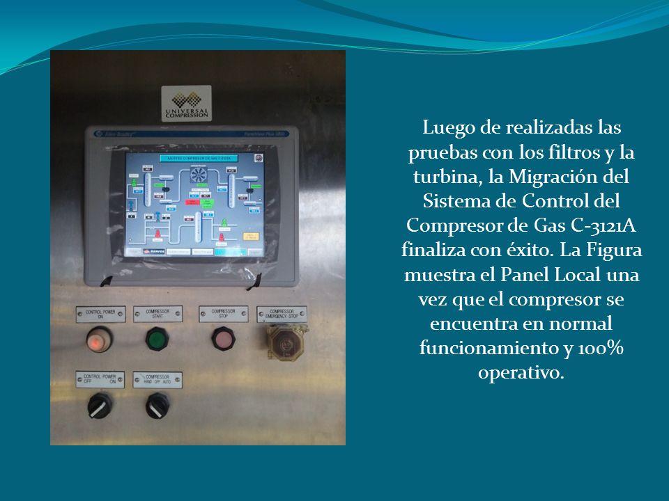 Luego de realizadas las pruebas con los filtros y la turbina, la Migración del Sistema de Control del Compresor de Gas C-3121A finaliza con éxito.