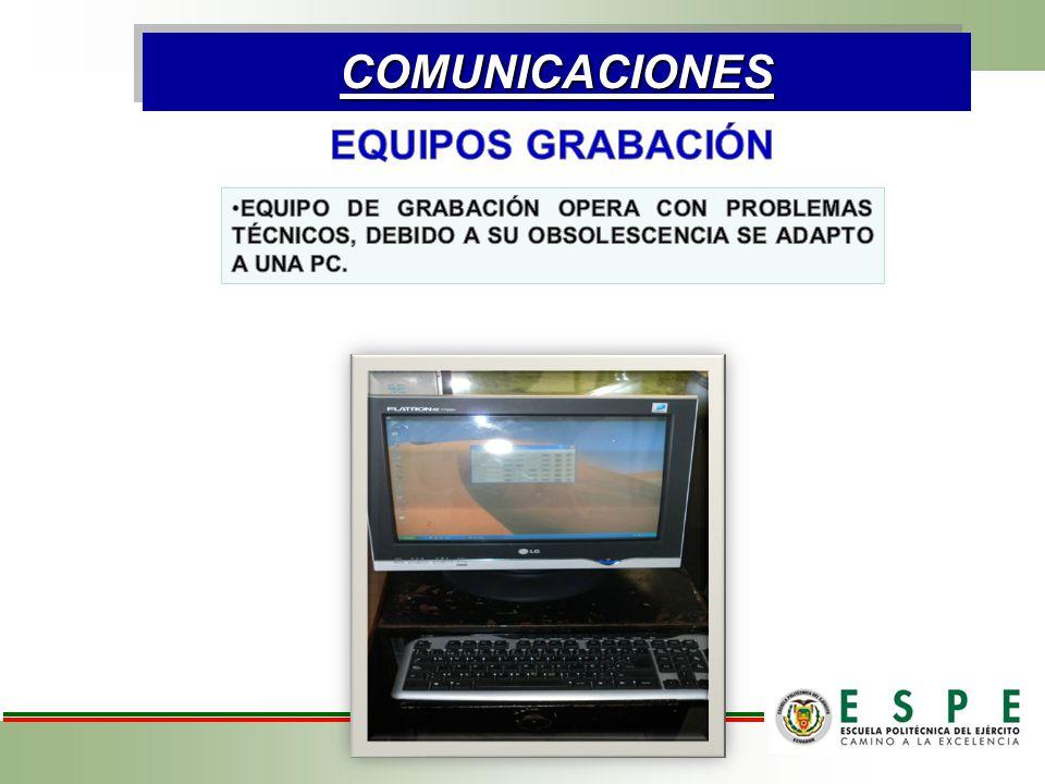 COMUNICACIONES EQUIPOS GRABACIÓN