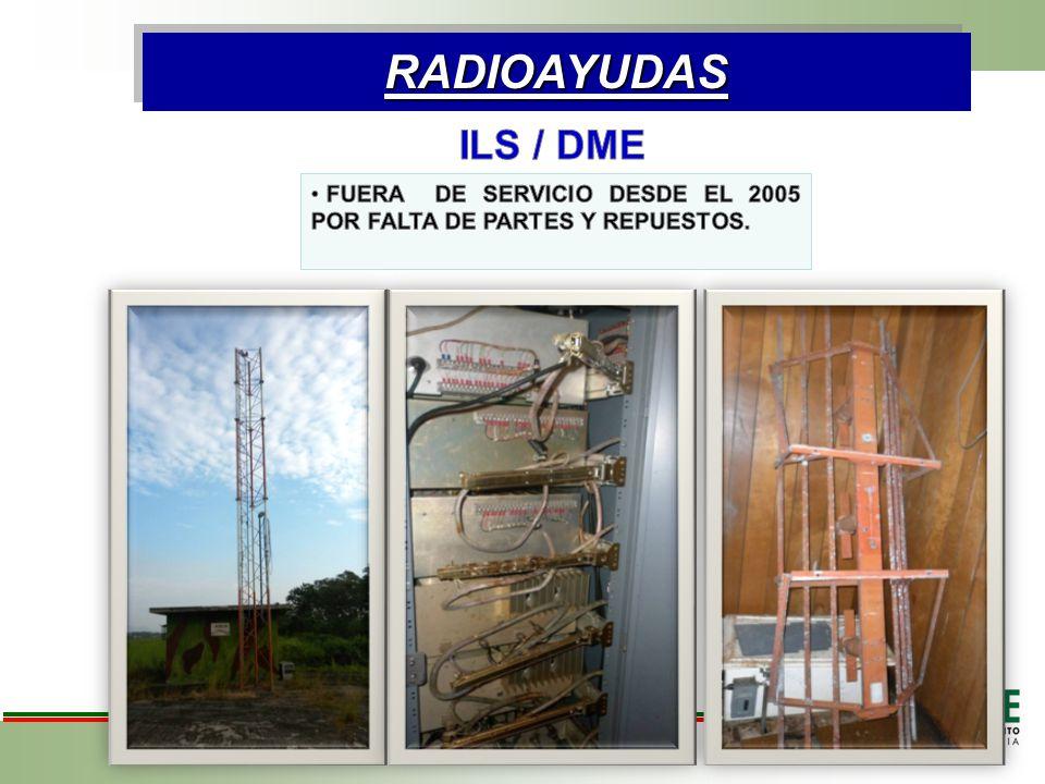 RADIOAYUDAS ILS / DME FUERA DE SERVICIO DESDE EL 2005 POR FALTA DE PARTES Y REPUESTOS.